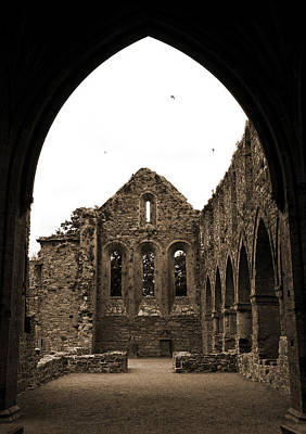 Photograph - Jerpoint Abbey Framed By Arch Medieval 12th Century Ruins County Kilkenny Ireland Sepia by Shawn O'Brien