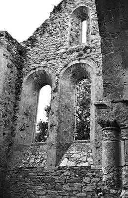 Photograph - Jerpoint Abbey Gothic And Romanesque Architectural Details County Kilkenny Ireland Black And White by Shawn O'Brien
