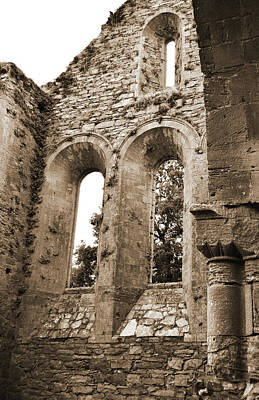 Photograph - Jerpoint Abbey Gothic And Romanesque Architectural Details County Kilkenny Ireland Sepia by Shawn O'Brien