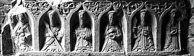 Photograph - Jerpoint Abbey Irish Tomb Weepers Saints County Kilkenny Ireland Black And White by Shawn O'Brien