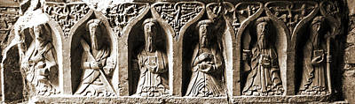 Photograph - Jerpoint Abbey Irish Tomb Weepers Saints County Kilkenny Ireland Sepia by Shawn O'Brien