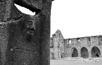 Ireland Photograph - Jerpoint Irish Abbey Bearded Monk Stone Column Carving County Kilkenny Ireland Black And White by Shawn O'Brien
