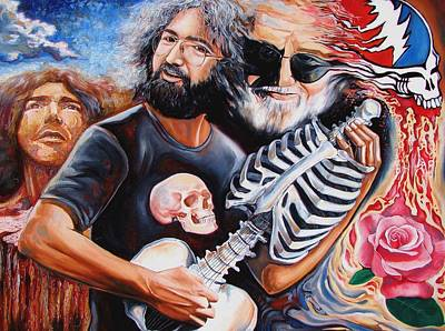 Abstract Expressionism Wall Art - Painting - Jerry Garcia And The Grateful Dead by Darwin Leon