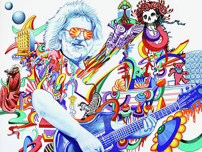 Drawing -  Jerry Garcia-captain Trips by Joshua Morton