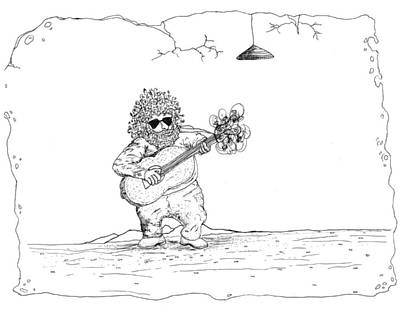 Acoustic Guitar Drawing - Jerry Garcia by Michael Mooney