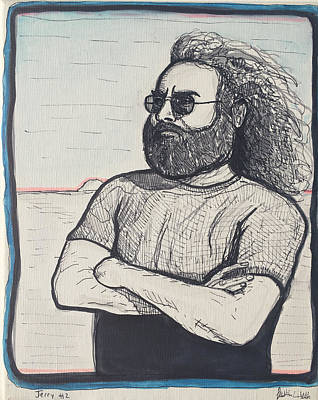 Jerry Garcia Drawing - Jerry Garcia Portrait  by Justin Welch