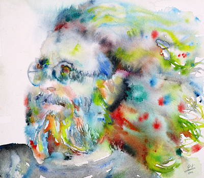 Painting - Jerry Garcia - Watercolor Portrait.11 by Fabrizio Cassetta