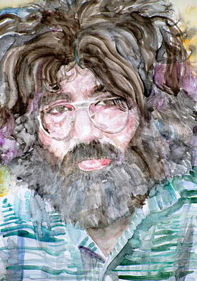 Painting - Jerry Garcia - Watercolor Portrait.14 by Fabrizio Cassetta