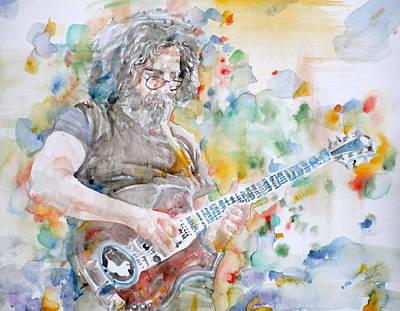 Painting - Jerry Garcia - Watercolor Portrait.15 by Fabrizio Cassetta