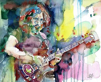 Painting - Jerry Garcia - Watercolor Portrait.16 by Fabrizio Cassetta