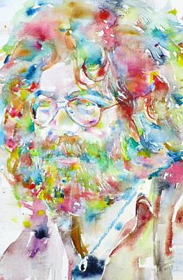 The Grateful Dead Drawing - Jerry Garcia Watercolor Portrait.3 by Fabrizio Cassetta