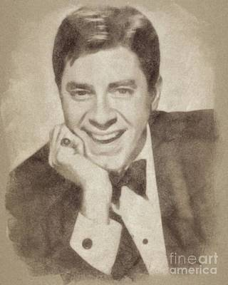 Musicians Drawings - Jerry Lewis, Hollywood Legend by John Springfield by Esoterica Art Agency
