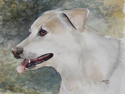 Mixed Labrador Retriever Painting - Jerry, Watercolor Painting by David K Myers
