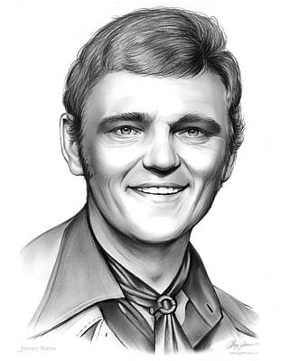 Country Drawing - Jerry Reed by Greg Joens