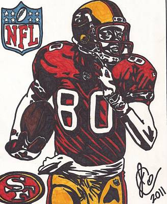 Art Print featuring the drawing Jerry Rice by Jeremiah Colley