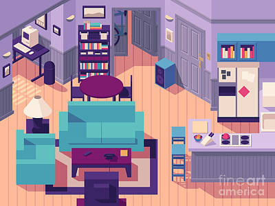 Jerry Seinfeld Apartment 5a Isometric Art Print by Ivan Krpan