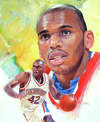 Basketball Abstract Painting - Jerry Stackhouse by Cliff Spohn
