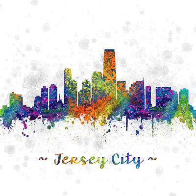 New Jersey Drawing - Jersey City New Jersey Skyline Color 03sq by Aged Pixel