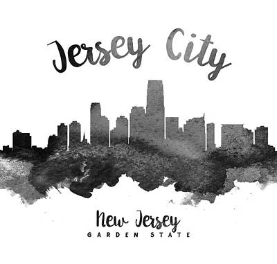 Grunge Painting - Jersey City Skyline 18 by Aged Pixel