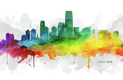 New Jersey Digital Art - Jersey City Skyline Mmr-usnjjc05 by Aged Pixel