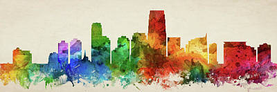 New Jersey Digital Art - Jersey City Skyline Panorama Usnjjc-pa03 by Aged Pixel