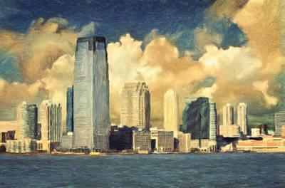 Painting - Jersey City Skyline by Taylan Apukovska