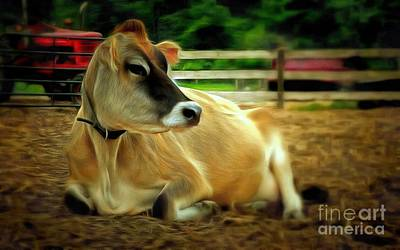 Photograph - Jersey Cow - Chillaxin' On The Farm by Janine Riley
