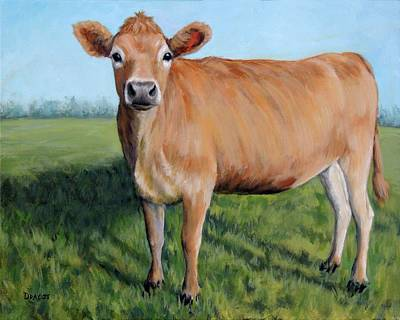 Jersey Cow Painting - Jersey Cow Standing In Field by Dottie Dracos