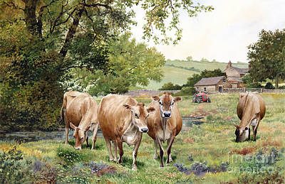 Jersey Cows Art Print by Anthony Forster