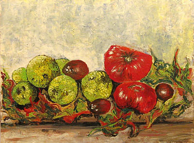 Brain Painting - Jersey Tomatoes And Monkey Brains  by Vladimir Kezerashvili