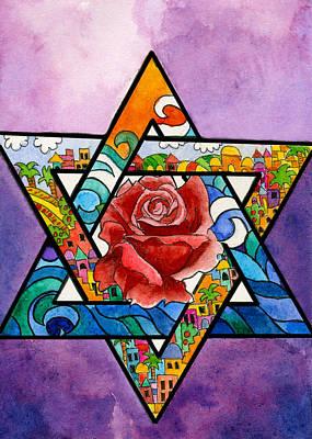 Sukkot Painting - Jerusalem Card by Dawnstarstudios