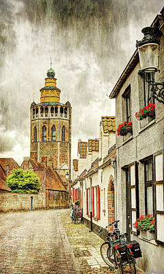 Photograph - Jerusalem Church Tower From A Side Street In Bruges - Vintage by Weston Westmoreland