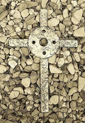 Jerusalem Cross In Sepia Tone Art Print by Deborah Montana