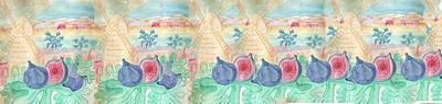 Blue Fig Digital Art - Jerusalem Figs-watercolor On Parchment by Sandrine Kespi