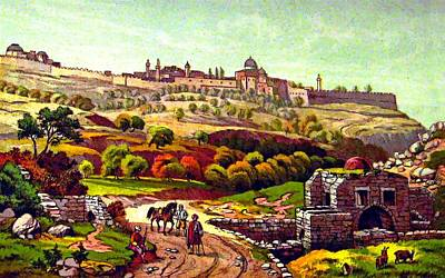 Painting - Jerusalem From Job Well by Munir Alawi