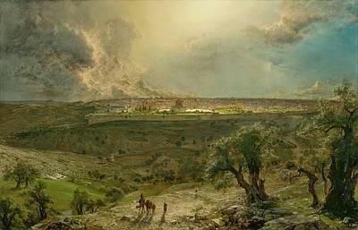 Jerusalem Painting - jerusalem from the Mount of Olives by Frederic Edwin