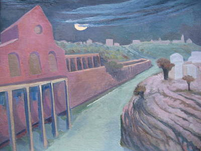 Wall Art - Painting - Jerusalem Railroad Station In Moonlight by Inge Klimpt