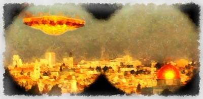 Alien Abduction Wall Art - Painting - Jerusalem Revelation by Esoterica Art Agency