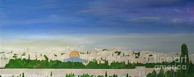 Sacred Land Painting - Jerusalem Skyline by Karen Jane Jones