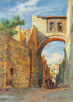 Photograph - Jerusalem Street Scene by Munir Alawi