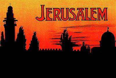 City Sunset Wall Art - Digital Art - Jerusalem, Sunset Silhouette by Long Shot