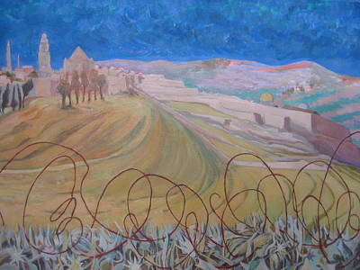 Wall Art - Painting - Jerusalem With Barbed Wire by Inge Klimpt