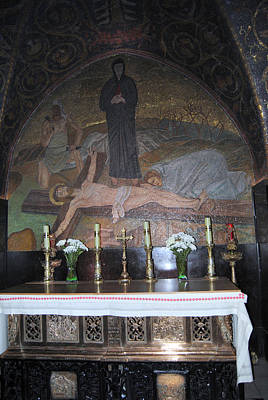 Photograph - Mosaic In Catholic Chapel Of The Nailing To The Cross by Isam Awad