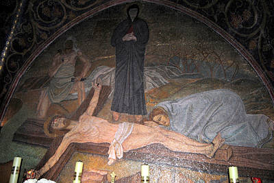 Photograph - Mosaic In Catholic Chapel Of The Nailing To The Cross 2 by Isam Awad