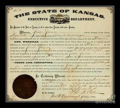 Digital Art - Jesse James Kansas Extradition Order 1875 by Peter Ogden Collection