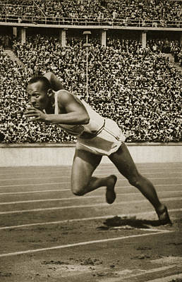 Black Stand Photograph - Jesse Owens by American School