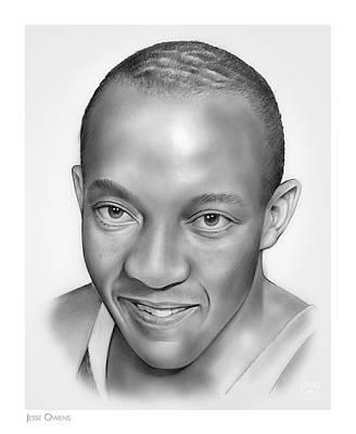 Athletes Drawings - Jesse Owens by Greg Joens