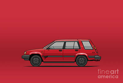 Po Digital Art - Jesse Pinkman's Crappy Red Toyota Tercel Sr5 4wd Wagon Al25 by Monkey Crisis On Mars
