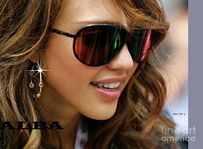Jessica Alba Mixed Media - Jessica Alba, Cool Shades by Thomas Pollart