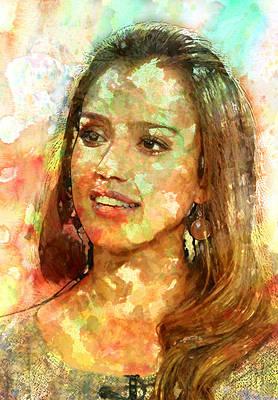 Jessica Alba Art Print by Elena Kosvincheva